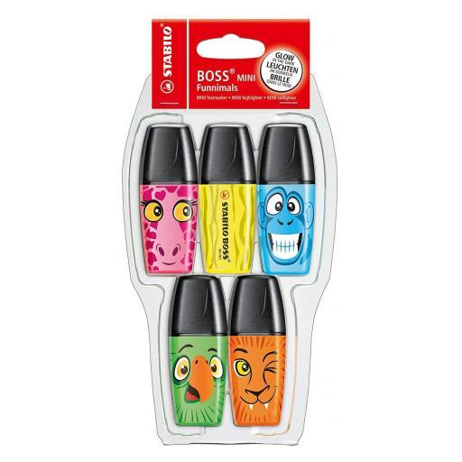 Stabilo Mini Funnimal Highlighter Pens - Pack of 5