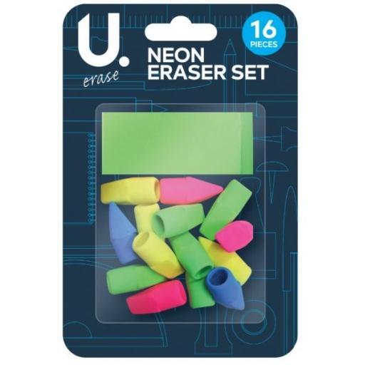 U. Neon Eraser Set - Pack of 16