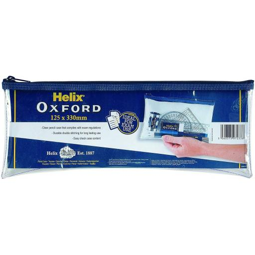 Helix Oxford PVC Clear Pencil Case - 125x330mm