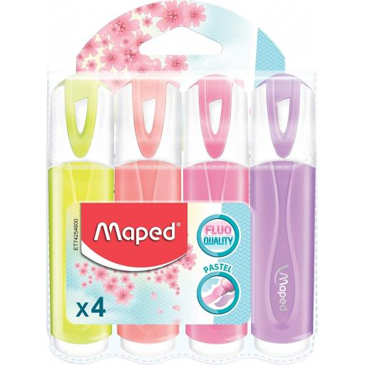 Maped Fluo Quality Pastel Highlighter Pens (YPPP) - Pack of 4