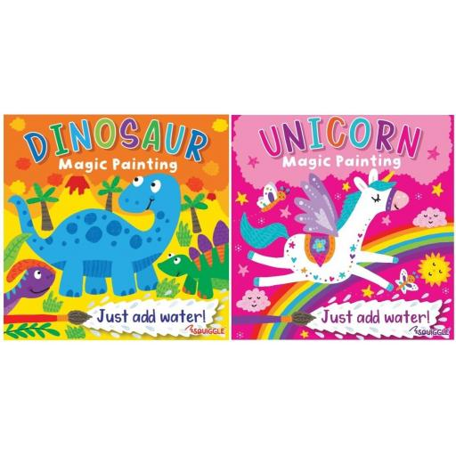 Squiggle Magic Painting Books Unicorn & Dinosaur - Set of 2