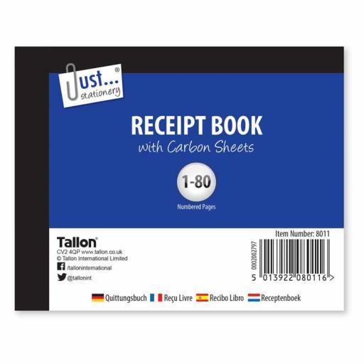 JS Receipt Book Half Size with Carbon Sheets - 80 Sets
