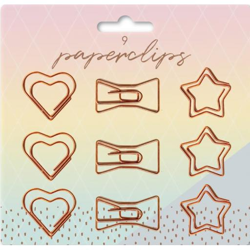 IGD Rosegold Glam Paperclips - Pack of 9