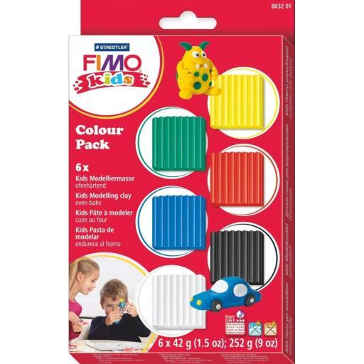 Staedtler Fimo Kids Colour Pack Standard Colours 6 x 42g Blocks