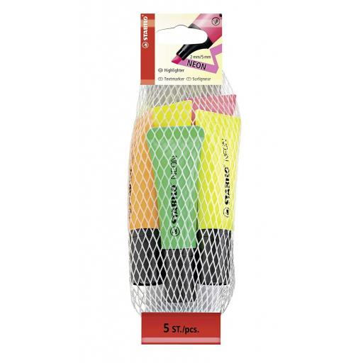 Stabilo Neon Highlighter Pens - Pack of 5 (2Y)
