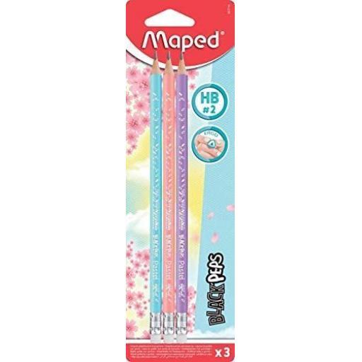 Maped Pastel Barrel HB Pencils - Pack of 3