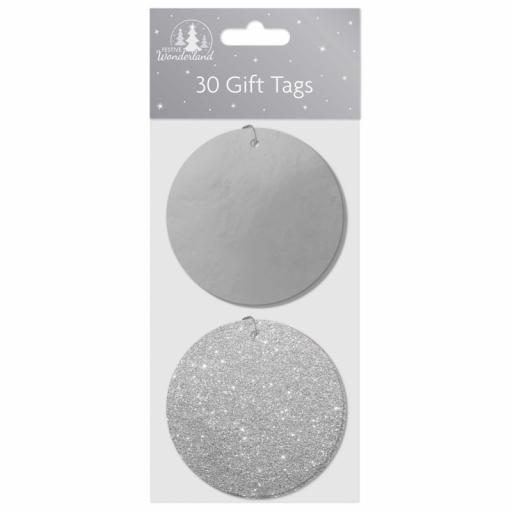 Festive Wonderland Round Gift Tags Silver - Pack of 30