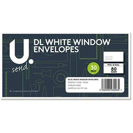 U. Martello - DL White Window Envelopes - Pack of 30
