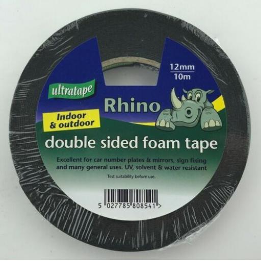 Ultratape Double Sided Black Foam Tape 10m