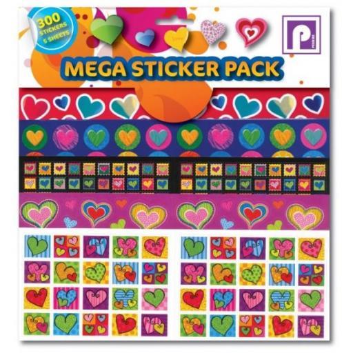 Pennine Mega Sticker Pack, Hearts - 300 Stickers