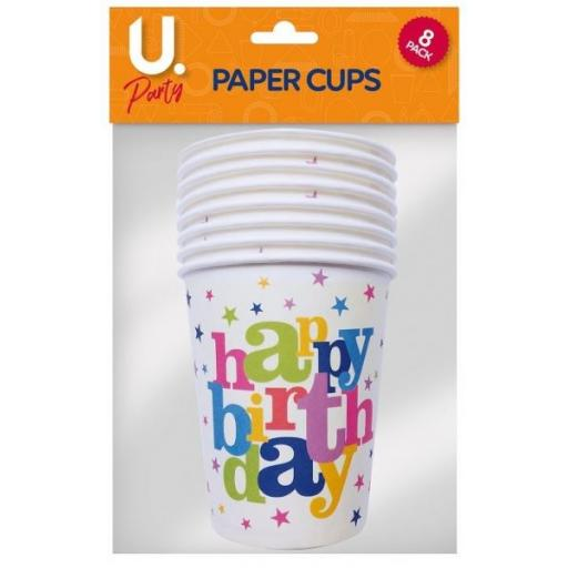 U.Party - Happy Birthday Paper Cups - Pack of 8