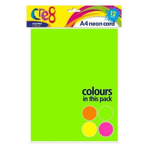 Cre8 A4 Neon Coloured Card - 12 Sheets