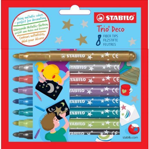 Stabilo Tri Deco Metallic Pens - Pack of 8