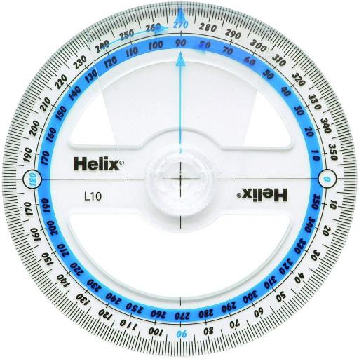 Helix 10cm 360 Degree Angle Measure Protractor