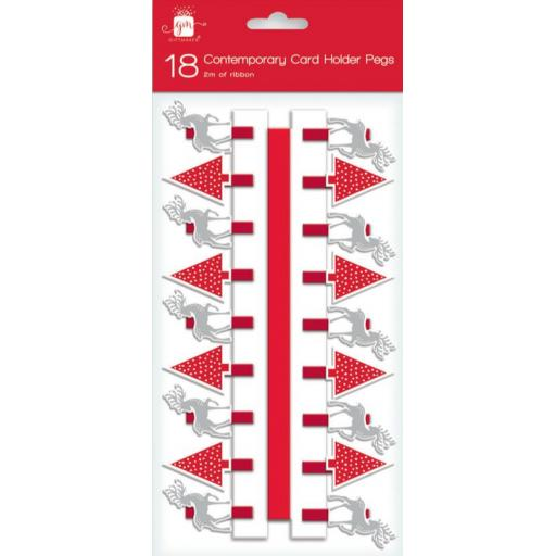 IGD Giftmaker Contemporary Card Holder Pegs, Deer & Tree - Pack of 18