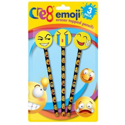 Cre8 Emoji Eraser Topped Pencils - Pack of 3