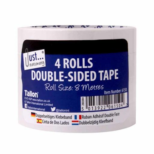 JS 18mm Double Sided Tape 8m Roll - Pack of 4
