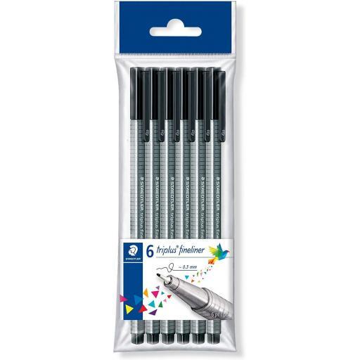 Staedtler Triplus Fineliner 0.3mm Pens - Black, Pack of 6