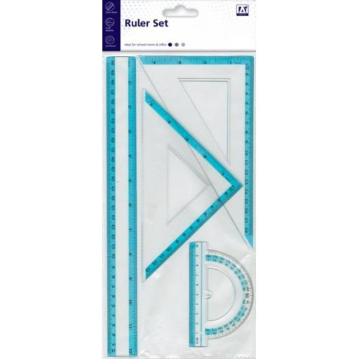 IGD Ruler, Set Squares & Protractor Set - Pack of 4
