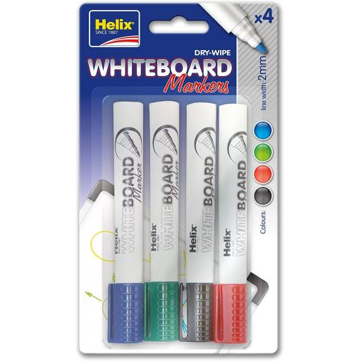 Helix Dry Wipe Whiteboard Markers 2.0mm - Pack of 4