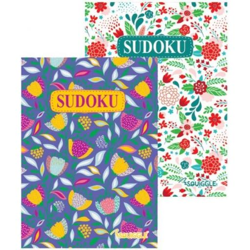 Squiggle A5 Floral Sudoku Puzzle Books - Set of 2