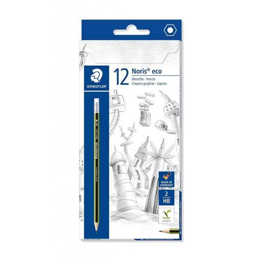 Staedtler Eco Pencils, Eraser Tip HB Grade - Pack of 12
