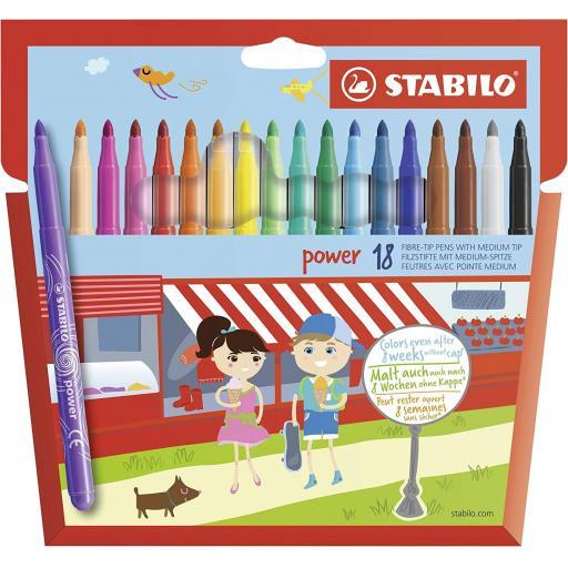 Stabilo Power Fibre Tip Pens, Medium Tip - Pack of 18