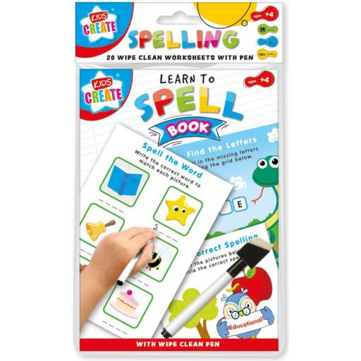 Kids Create A5 Wipe Clean Learning Book - Spelling