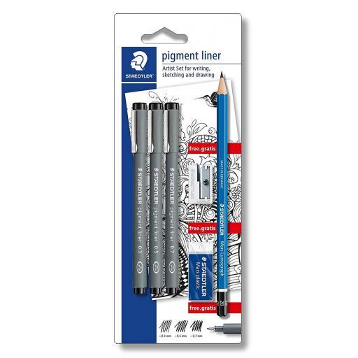 Staedtler Pigment Liner Set - Pack of 3 Pens + Sharpener, Eraser & Pencil