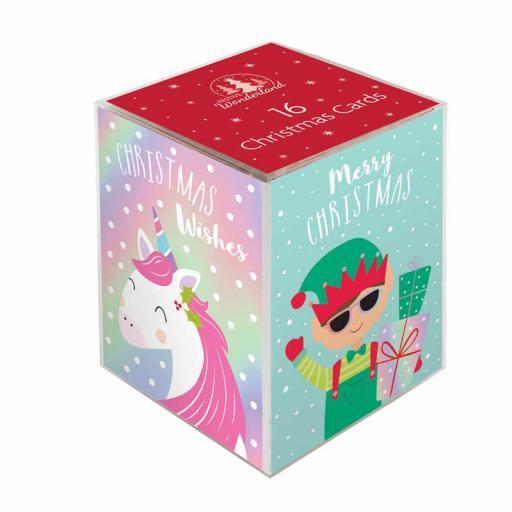 Festive Wonderland Mini Christmas Cards, Magical Laser Characters - Box of 16