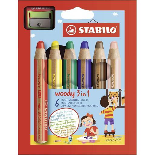 Stabilo Multi-Talented Woody 3 in 1 Pencils - Pack of 6