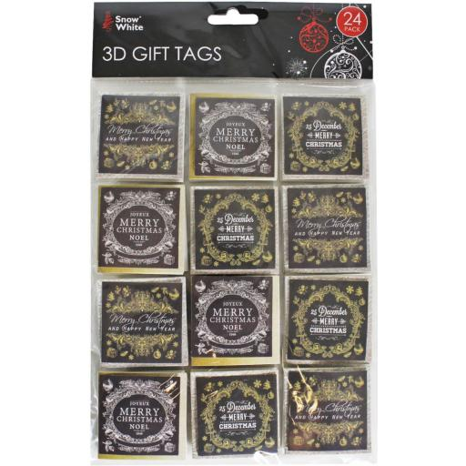 PMS Snow White 3D Gift Tags Gold & Silver - Pack of 24