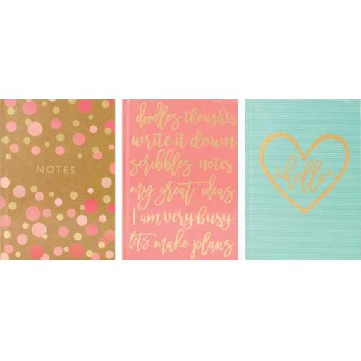 Tallon A6 Hardback Notebook Typography Foil - Assorted Designs
