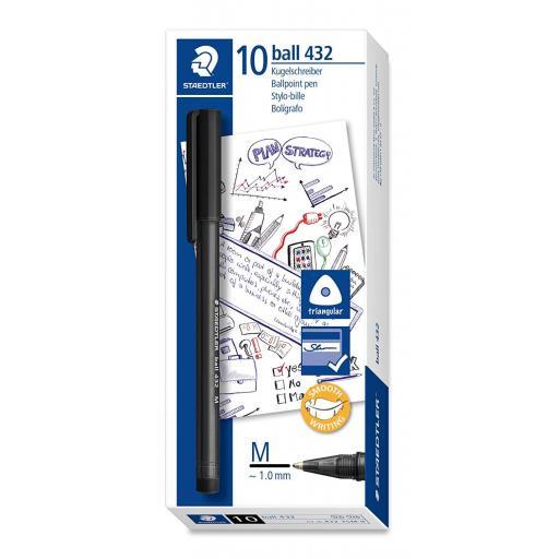 Staedtler Ballpoint Pen Medium - Black, Pack of 10