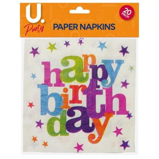 U.Party - Happy Birthday Paper Napkins - Pack of 20