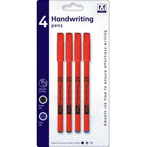 IGD Handwriting Pens, Black & Blue - Pack of 4
