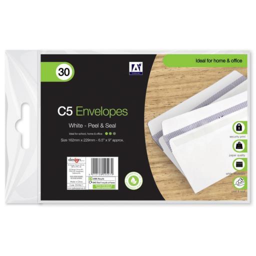 IGD White C5 Peel & Seal Envelopes - Pack of 30