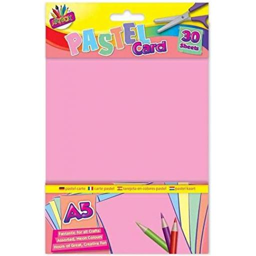 Artbox A5 Pastel Card, Assorted Colours - Pack of 30