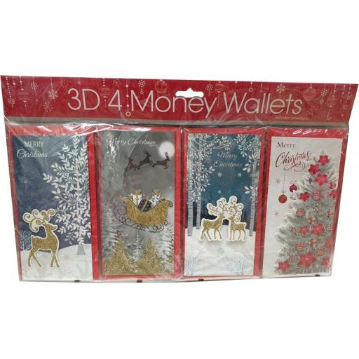 Tulip Christmas Money Wallets Traditional - Pack of 4