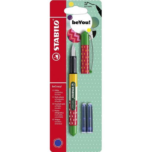 Stabilo beCrazy Fountain Pen + 2 Refills - Strawberry