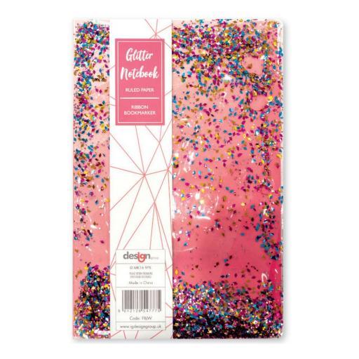 IGD A5 Ruled-Paper Pink Liquid Glitter Notebook