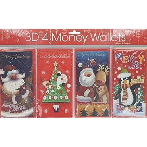 Bargain Gateway 3D Money Wallets, Cute - Pack of 4
