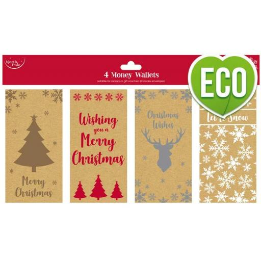 North Pole 100% Recycled Kraft Money Wallets - Pack of 4