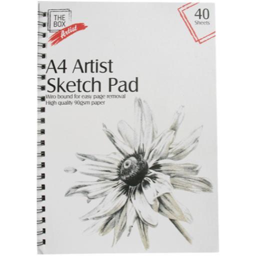 The Box A4 40 Sheet Artist Sketch Pad - 90gsm Paper