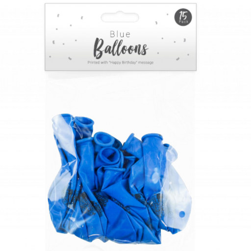 Pop Party Happy Birthday Blue Balloons - Pack of 15