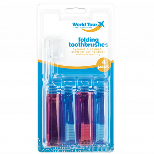 World Tour Travel Toothbrushes - Pack of 4