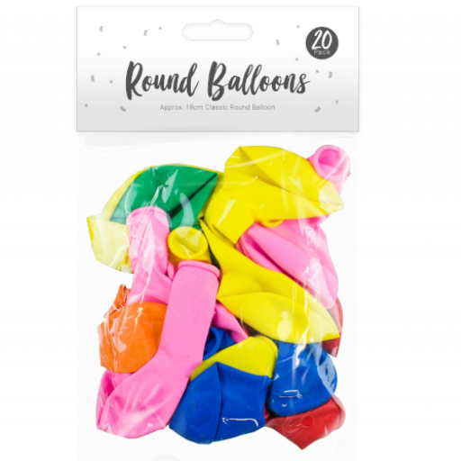 Pop Party Round Balloons 18cm - Pack of 20