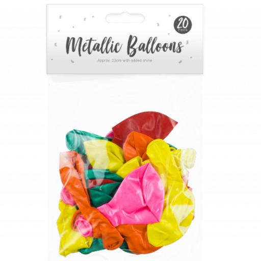 Pop Party Metallic Balloons 23cm - Pack of 20