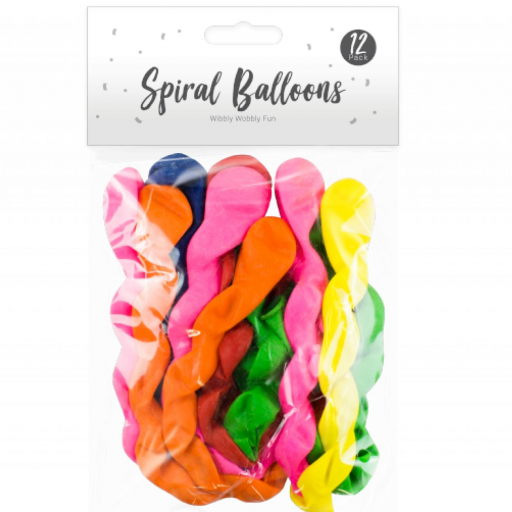Pop Party Spiral Balloons - Pack of 12