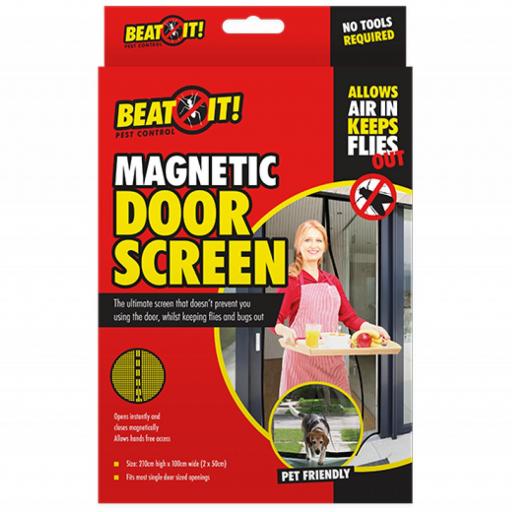 Beat It Pest Control Black Magnetic Door Screen